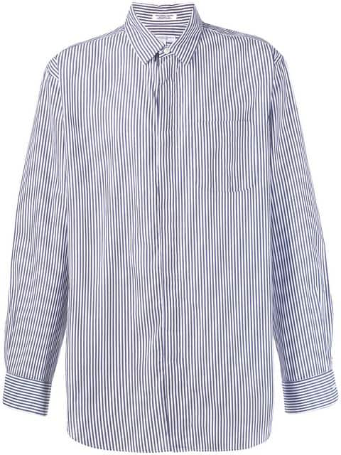 Engineered Garments Striped Long-sleeve Shirt In Blue