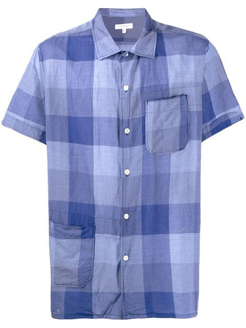 Engineered Garments Plaid Short-sleeve Shirt In Blue