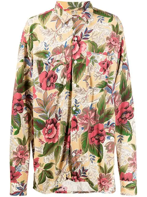 Engineered Garments Floral Print Shirt In Yellow