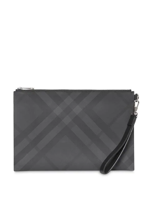 Burberry London Check And Leather Zip Pouch In Dark Charcoal