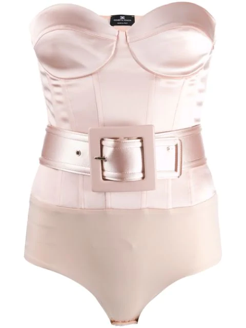 Elisabetta Franchi Fitted Belted Body In Neutrals