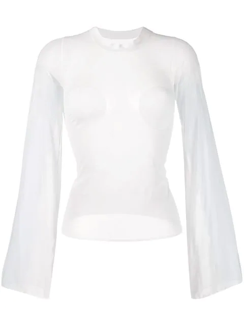 CourrÈGes Wide Sleeve Top - White