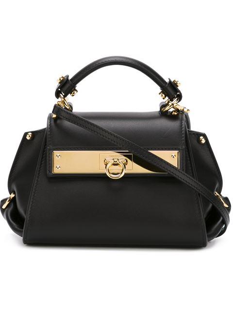 Salvatore Ferragamo Mini Sofia Leather Shoulder Bag, Black