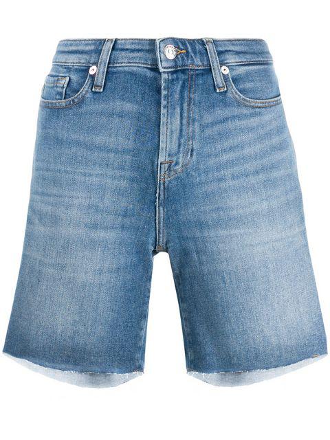 7 For All Mankind Boy Denim Shorts In Blue