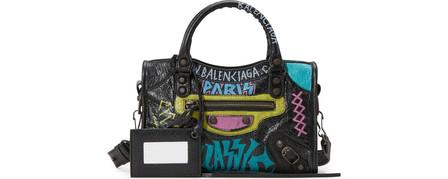Balenciaga Mini City Graffiti Leather Tote In Multi