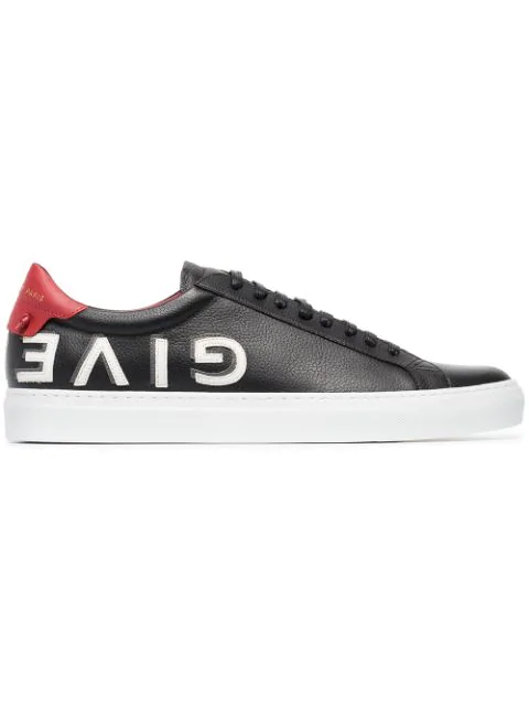 Givenchy Black, White And Red Urban Street Logo Leather Sneakers In 009 Black/Red