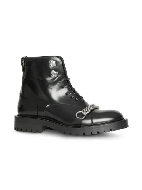 Burberry Barke Chain-Trimmed Leather Ankle Boots In Black