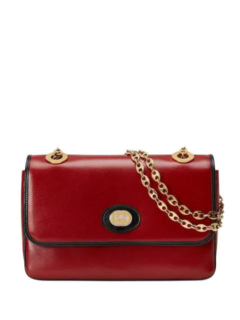 Gucci Leather Small Shoulder Bag In 6663 New Cherry