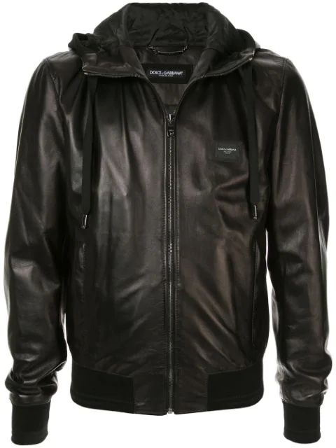 Dolce & Gabbana Leather Jacket With Hood And Branded Plate In Black