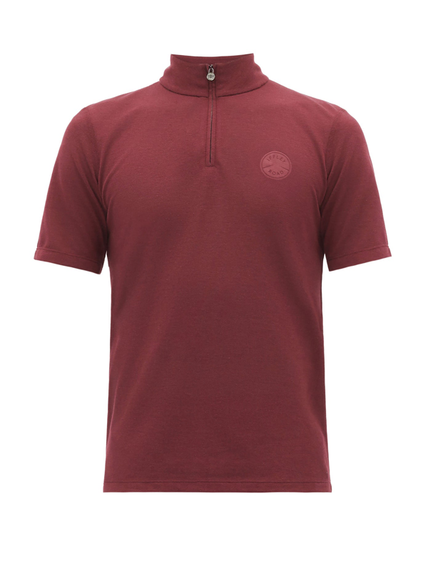 Iffley Road Sidmouth Half-zip Piqué T-shirt In Burgundy