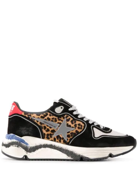 Golden Goose Running Sole Printed Calf Hair, Leather And Mesh Sneakers In E2 Black Animalier Silver Star