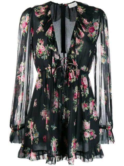 Zimmermann Honour Floating Ruffled Floral-Print Silk-Georgette Playsuit In Black