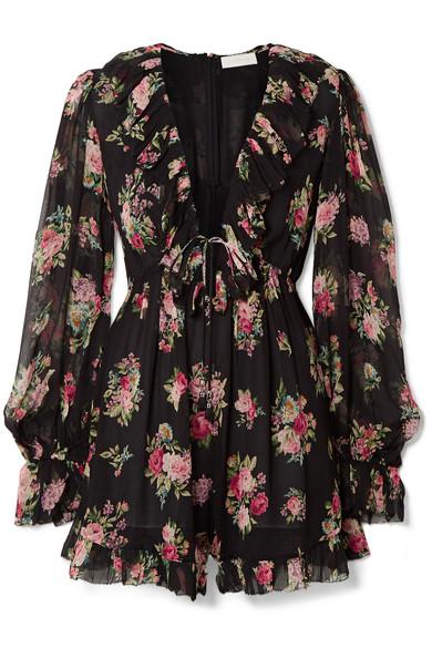 1dadeecd Zimmermann Honour Floating Ruffled Floral-Print Silk-Georgette Playsuit In  Black