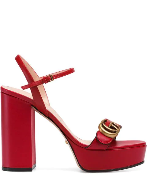 Gucci Gg Marmont Leather Plateau Sandals In Red