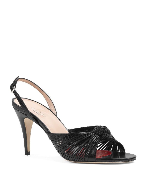 Gucci Crawford Leather Slingback Sandals In Black
