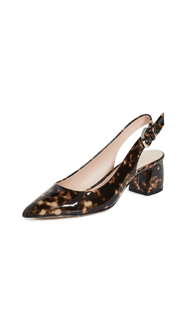 Kate Spade Mika Leopard Patent Leather Slingback Pumps In Tortoise