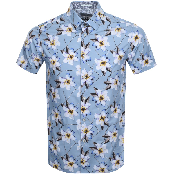 Ted Baker Baboo Plain Sateen Slim Fit Button-Down Shirt In Blue