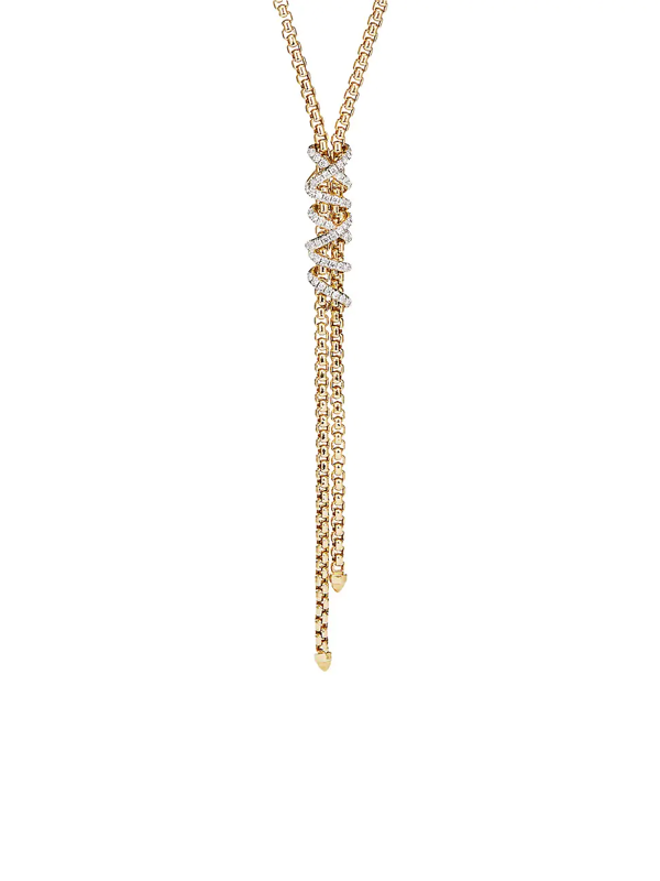 David Yurman Women's Helena Y Necklace In 18k Yellow Gold With Diamonds