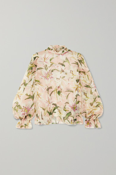 Dolce & Gabbana Lily Print Organza Puff Sleeve Blouse In Pink