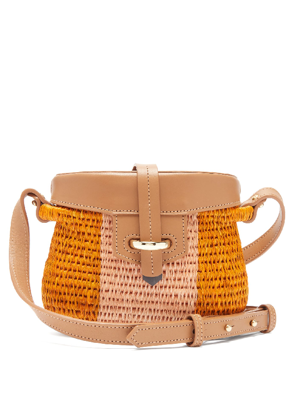Khokho Jabu Leather-trimmed Mini Basket Bag In Pink Multi