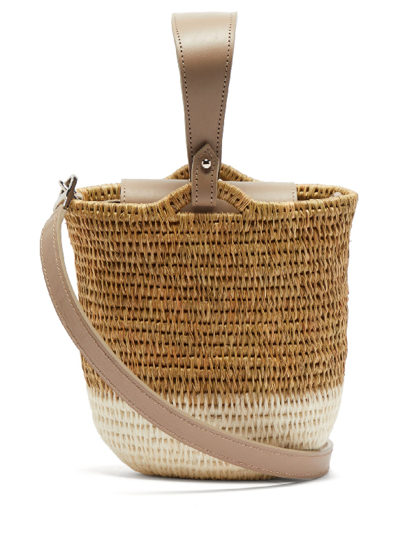 Khokho Zandi Leather-trimmed Woven Bucket Bag In White Multi