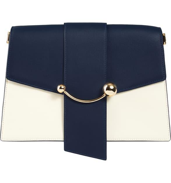 Strathberry Crescent Tri-color Leather Shoulder Bag In Navy/ Vanilla/ Burgundy