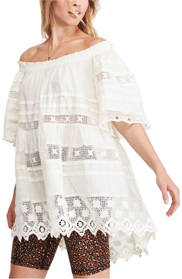 Free People Sounds Of Summer Off The Shoulder Tunic Top In White