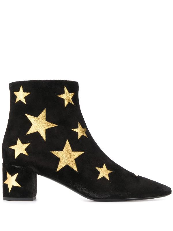 Saint Laurent 50mm Loulou Star Suede Ankle Boots In Black