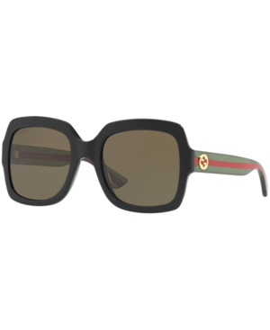 Gucci 54Mm Square Sunglasses - Black/ Brown In Black/Brown