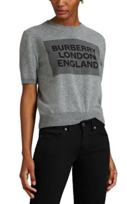 Burberry Short-Sleeve Logo Detail Cashmere Top In Grey