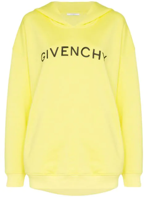 Givenchy Logo Embroidery Over Hoodie In Yellow