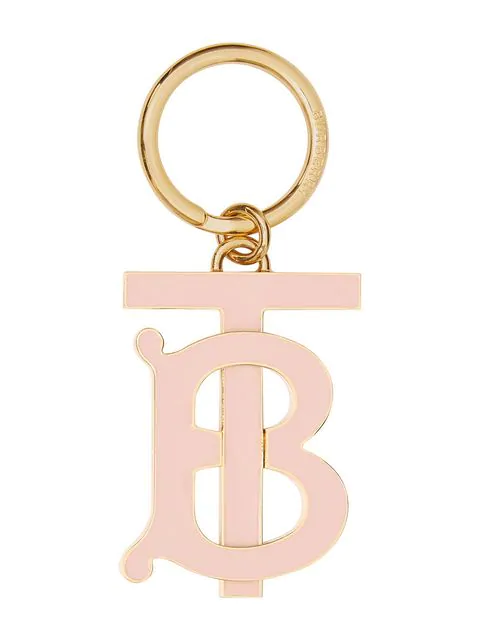 Burberry 经典Logo标志吊饰镀钯金钥匙圈 - 粉色 In Pink