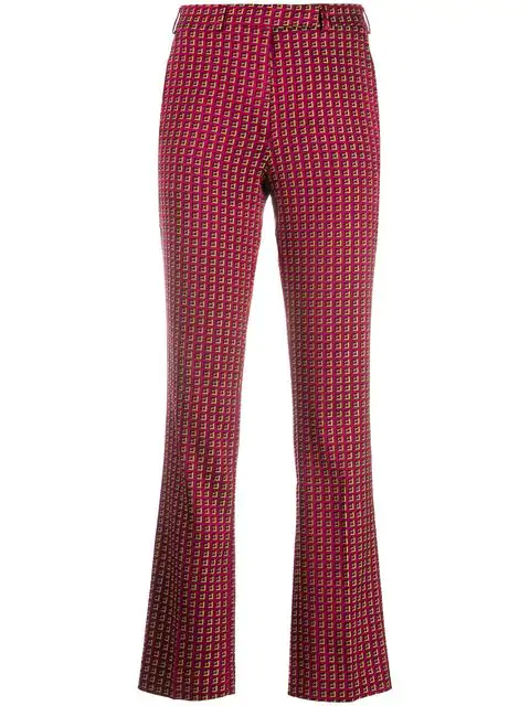 Etro Printed Slim-fit Trousers In Pink