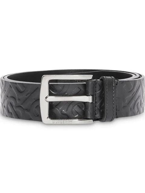 Burberry Monogram Leather Belt In Black