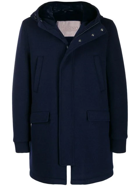 Herno Hooded Coat In 9209 Blu