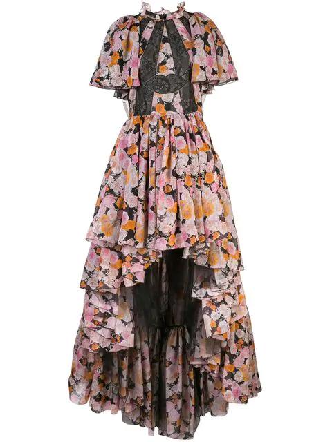 Giambattista Valli Printed Chiffon & Tulle Dress In Multicolour