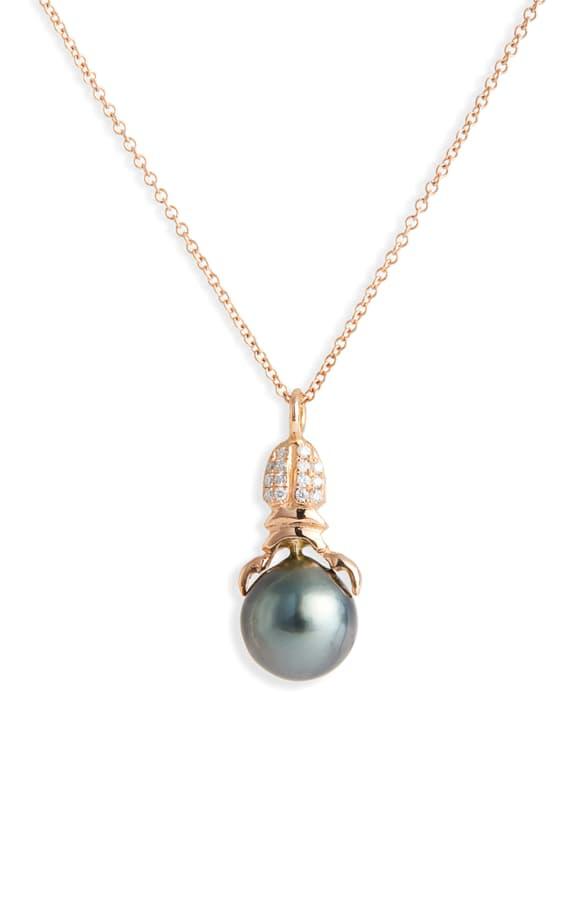 Daniela Villegas Khepri Black South Sea Pearl & Diamond Necklace In 18kpg