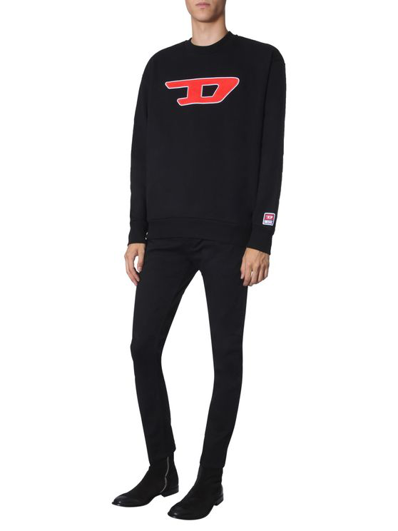 Diesel Denim Division Patch Sweatshirt In Black