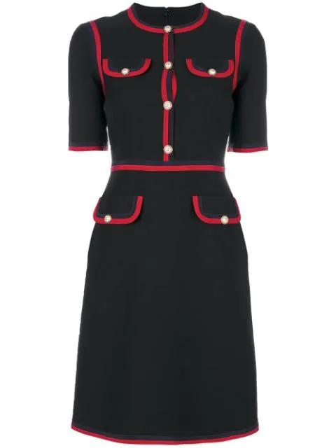 27e2c299e0c Gucci Wool Silk Dress With Web In Black | ModeSens