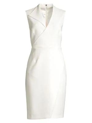 Elie Tahari Elodie Sleeveless V-neck Sheath Dress In Fresh Pearl