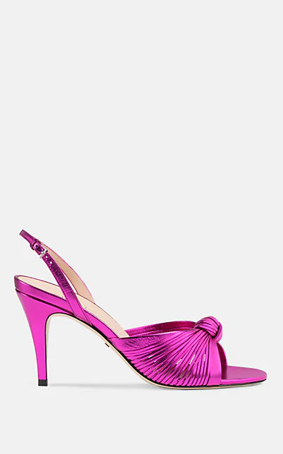 Gucci Crawford Metallic Leather Slingback Sandals In Pink
