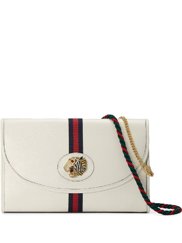 019a8674b9 Gucci Tiger Rajah Leather Shoulder Bag In White | ModeSens