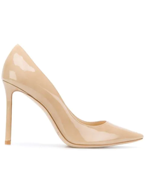 Jimmy Choo Romy 100 Sand Patent Leather Pumps In Nude