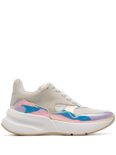 Alexander Mcqueen Smooth And Iridescent Leather Exaggerated-sole Sneakers In 9092 Cream