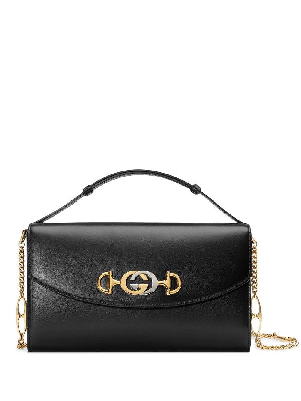 4d0596c28457 Gucci Linea Zumi Small Leather Shoulder Bag - Black | ModeSens
