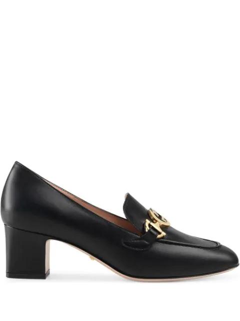 Gucci Mocassino Tacco Medio Zumi Loafers In Black