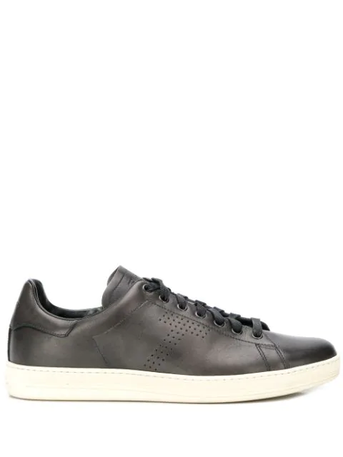 Tom Ford Warwick Perforated Full-grain Leather Sneakers In Blue