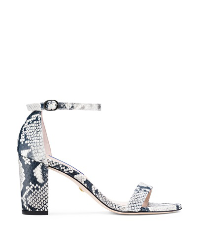 Stuart Weitzman Nearlynude Block-heel Python-embossed Leather Sandals In Black And White Python Printed Leather