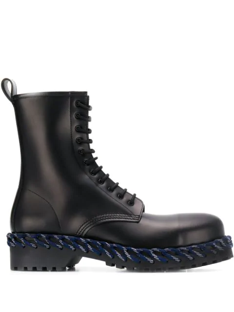 Balenciaga Men's Combat Boot With Woven Lace Detail In Black