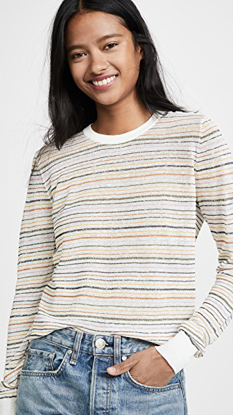 Joie Ade Striped Linen Pullover Sweater In Porcelain